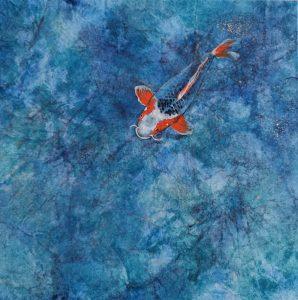 Sortir de l'ombre, peinture japonaise, peinture poisson, carpe koi